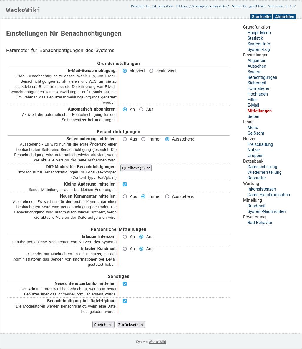 Globale Standardeinstellungen