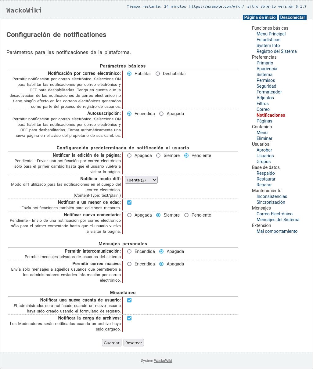 Configuración de notificationes