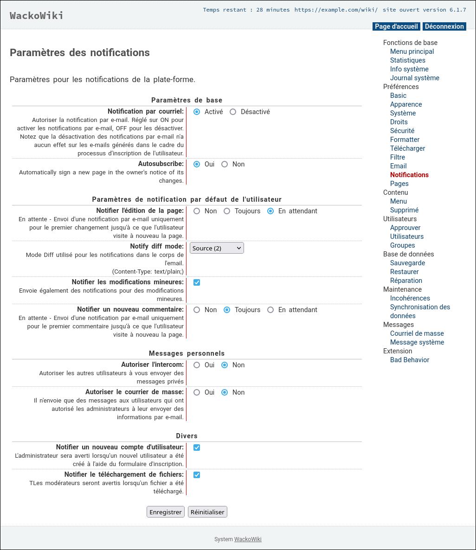 Paramètres des notifications