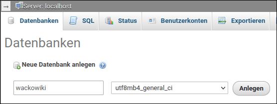 Bildschirmabdruck: WackoWiki Datenbank erstellen