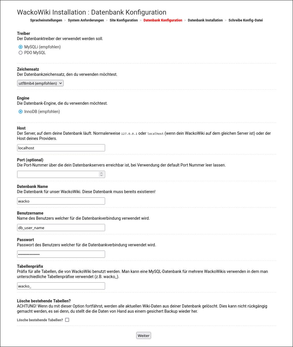 Bildschirmabdruck: WackoWiki R6.0 Installation Schritt 4: Datenbank Konfiguration