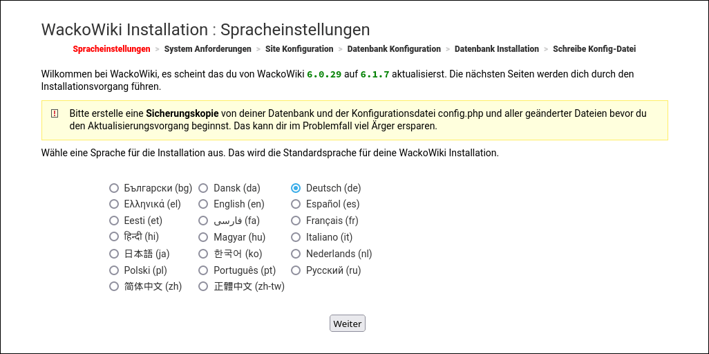 Screenshot: WackoWiki R6.0 upgrade von R5.5: Spracheinstellungen