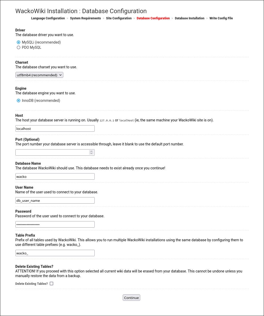 Screenshot: WackoWiki R6.0 installation step 4: database configuration