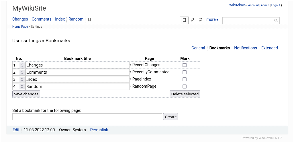 Screenshot: WackoWiki R6.0 Menu User Settings
